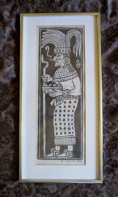 Vintage Aztec Woodblock Print Mayan Art by E. Canul by VistaChick