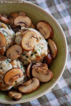 Laugenknödel mit Champignons #vegetarisch #soulfood #brezelknödel