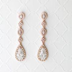 CZ Wedding Earrings in Rose Gold
