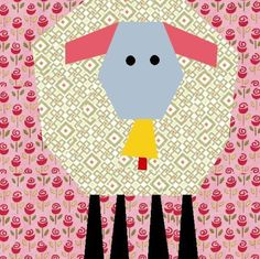 Spring lamb with bell paper pieced block