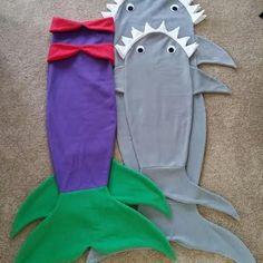 Fleece shark and mermaid tail blankets More