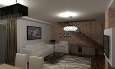 Projekt małego salonu z klatką schodową w stylu umiarkowanie nowoczesnym. Design of a small living room with a staircase in a moderately modern style. Small Living, Chandelier, Ceiling Lights, Living Room, Lighting, Home Decor, Small Space Living, Candelabra, Decoration Home