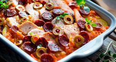 Zapiekanka z kurczakiem i chorizo