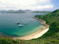 Sai Kung, Hong Kong  I have been to a beach just like this on a junk boat trip in the South China Sea. Beautiful!