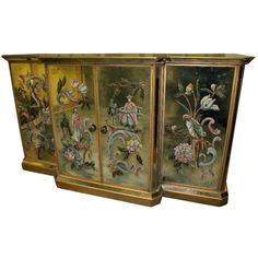 20th c. Italian Mirrored and Painted Four Door Credenza | From a unique collection of antique and modern credenzas at http://www.1stdibs.com/furniture/storage-case-pieces/credenzas/