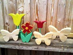 Holzdeko - Blumen - Buchstaben-Schmetterling