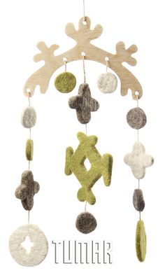 "Garlands ""Carryng pole"". Felt - 100% wool. Handmade, solid-rolled, ala-qiyiz technique. Base - wood.  Christmas collection 2016. Tumar Art Group."
