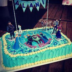 Easy Slab Birthday Cake: Disney's Frozen theme