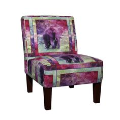Maran Slipper Chair featuring AFRICA WILD ELEPHANT SQUARE FRAMED PANEL by paysmage | Roostery Home Decor