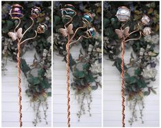 Hand sculpted solid copper and glass butterfly garden stake. Butterfly Plants, Glass Butterfly, Dragonfly Garden Decor, Rainbow Garden, Glass Wind Chimes, Rainbow Glass, Metal Garden Art, Copper Art, Garden Markers