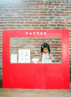 "Temporary Tattoo Parlor - hysterical! Would be so fun for a birthday party ""station"" & photo booth, but super fun for play as well!!"