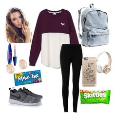 """Another day at school"" by sierrah-2 on Polyvore featuring Victoria's Secret, Max Studio, NIKE, H&M, Casetify and Kenneth Jay Lane"