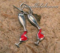 Love Wine Pendent Argento  Sterling 925 -  regalo compleanno per lei - bottiglia di vino collana -  regali amanti del vino di Gioiellididonna su Etsy