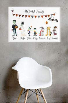 #halloweengift, #personalisedfamilyprint, #personalisedhalloweenprint Family Print, Cherry Tree, Paint Party, Gift Ideas, Halloween, Gifts, Home Decor, Cherry Plant, Homemade Home Decor