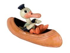 Antique Donald Duck in canoe. I seem to remember being out somewhere and you just LOVED vintage toys! Old Disney, Disney Toys, Disney Art, Vintage Games, Vintage Toys, Disney Images, Vintage Mickey, Retro Toys, Apple Products