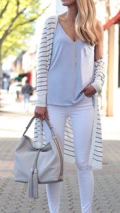 summer outfit ideas – striped duster cardigan with white skinny jeans 2019 – Sommer Garten Hochzeits Kleider Cardigan Style, Cardigan Outfits, Cardigan Fashion, Striped Cardigan, Shirt Outfit, Summer Fashion For Teens, Summer Fashion Outfits, Spring Outfits, Fashion Dresses