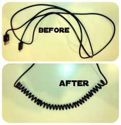 Use a hair dryer and a pencil for wrapping to make a DIY coiled cord. I wonder if it stays coiled when stretched...need to try this!