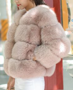 Whole-Skin Cropped Fox Fur Jacket