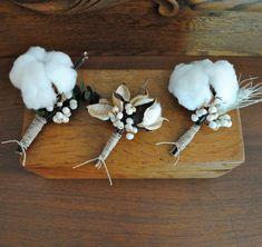 Cotton Boll Boutonniere  Natural Cotton  Raw by TALLCOTTONnPEAS, $18.00