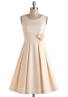 A Lighter Shade of Peach Dress - Cream, Solid, Flower, Pleats, Formal, Wedding, Vintage Inspired, 50s, Sleeveless, Spring, Fit Flare, Long