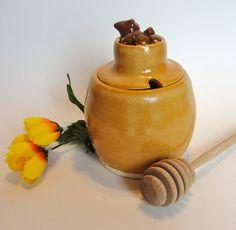 Honey Jar Honey Dipper Warm Yellow Orange by RisingStarPottery1, $32.00
