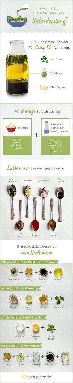 Was wären Rucola und Radicchio nur ohne Salatdressing! Von Essig-Öl-Vinaigrette bis zur Cremevariante - wir haben den ultimativen Dressing-Guide für dich.