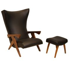 Solid Pau Ferra Wood Chair And Ottoman By Jose Zanine Caldas, 1960s