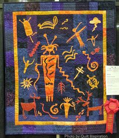 Quilt Inspiration: Highlights of the 2014 Arizona Quilters' Guild show - Day 2 Shaman's Dream by Sheila Arnold, design by Susan Olfers Southwestern Quilts, Southwest Art, Native Art, Native American Art, American Indians, Quilting Designs, Art Quilting, Quilt Art, Indian Quilt