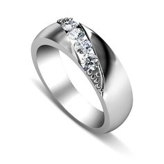 A polished 14KT white gold wedding band is accentuated by an elegant diamond pattern that will capture your imagination. Boasting 0.15CT of I-J color and VS2-SI1 round cut diamonds this diamond wedding band will bring beauty and light to every day of your marriage.