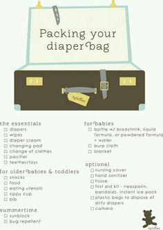 Diaper bag list For babies and toddlers