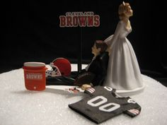 if i stick with the one i've got, just switch browns to lions and it'll be set. Brown Wedding Cakes, Italian Wedding Cakes, Wedding Cake Bakery, Wedding Cake Stands, Wedding Cake Toppers, Cleveland Browns Football, Cleveland Rocks, Go Browns, Our Wedding