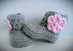 Crochet Baby Girl Boots Pink and Gray Baby by CutestlittleThing
