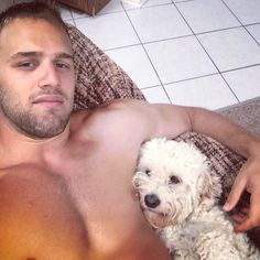 Riley Sheahan and his dog. Detroit #RedWings