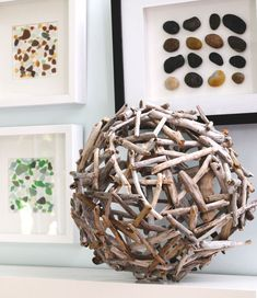 Like the idea of having source natural materials framed on wall in children's activity space