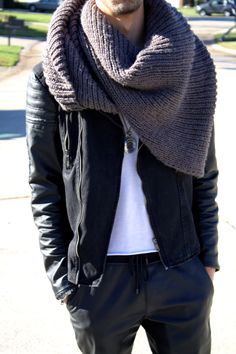 Infinity Scarf and leather for Fall
