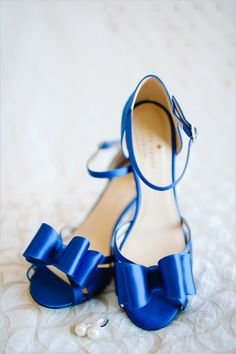 Blue Kate Spade wedding shoes.