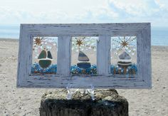sailboats in frame - seaglass Sailboat Art, Sailboats, Window Glass, Window Art, Sea Glass Art, Stained Glass, Lake Decor, Beach Huts, Crushed Glass