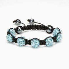Aquamarine Crystal Shamballa Bracelet - XL #Kalifano