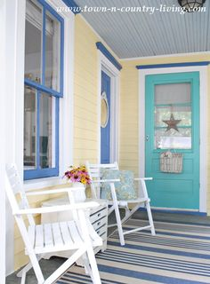 Colorful Coastal Porch Paint Makeover !