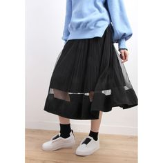 Mesh Flared Skirt in Micro Pleats
