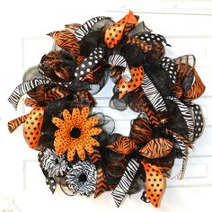 Black Orange & White Deco Mesh Wreath by SimpleSouthernDesign, $55.00