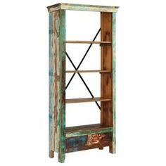 vidaXL Bibliotecă din lemn masiv reciclat, 80 x 35 x 180 cm Reclaimed Wood Bookcase, Wooden Bookcase, Etagere Bookcase, Acacia, Vintage Bookshelf, Corner Display Unit, Book Cabinet, Teak, Cube Unit