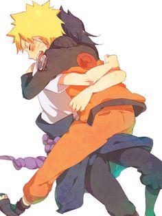 """""""i missed you so much Naruto"""" """"i missed you too Sasuke heehee"""" Naruto Uzumaki Shippuden, Naruto Shippuden Sasuke, Sasunaru, Anime Naruto, Naruto And Sasuke Kiss, Naruto Comic, Narusaku, Naruto Cute, Itachi Uchiha"""