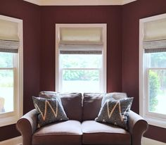 Working for the best client ever! Just installed these simple/elegant auto descend roman shades in his office. Couple of accent pillows on his love seat to add pattern to this monochromatic setting. #romanshades #customwindowcoverings #pillows #decor #interiorstyling