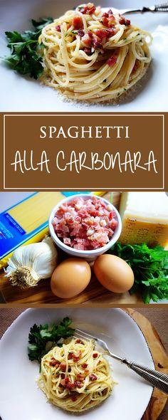 Spaghetti alla Carbonara - a wonderfully simple and quick recipe for the orginal italian sauce with bacon, eggs & Parmesan cheese. No cream & sooo tasty!  | cucina-con-amore.com