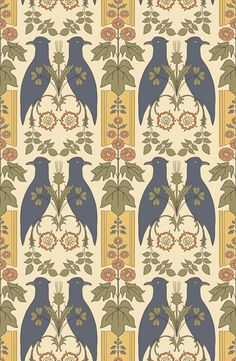 """""""Falcon and Hollyhock,"""" a wallpaper from a C. Voysey design dating to From Trustworth Studios. ABOVE: """"Falcon and Hollyhock"""" is a wallpaper from a C. Voysey design dating to From Trustworth Studios. Browse a specialized list of products and Stencil Patterns, Textile Patterns, Textiles, Pattern Art, Color Patterns, Style Patterns, Doll House Wallpaper, Home Wallpaper, Fabric Wallpaper"""