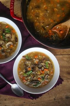 Homemade Mushroom and Barley Soup Recipe. This vegetarian soup is one of the most perfect comfort foods and recipes for fall, winter, or cold weather. Make this vegetarian soup in your dutch oven! You won't miss the meat at all, making this perfect for meatless monday. You'll need porcini mushrooms, celery, carrots, pearled barley and porcini mushrooms.