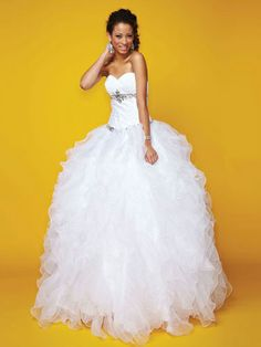 White Quinceanera Dresses - Drop Waist Quince Dress