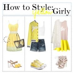 """""""How to Style Yellow Girly"""" by sugarplumfairy98 ❤ liked on Polyvore featuring DaVonna, Betsey Johnson, Canvas by Lands' End, Shop ★ Art, Converse, Sophia Webster, P.A.R.O.S.H., ADRIANA DEGREAS, Carvela and yellow"""