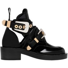 Balenciaga Ceinture Ankle Boots (€1.075) ❤ liked on Polyvore featuring shoes, boots, ankle booties, black, women shoes ankle boots, black buckle booties, leather boots, black ankle boots, black bootie and black buckle boots